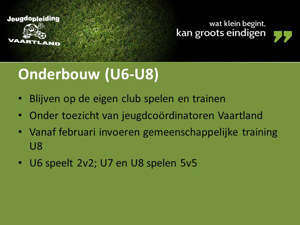 Onderbouw (U6-U8) Blijven op de eigen club spelen en trainen Onder toezicht van jeugdcoördinatoren Vaartland Vanaf februari invoeren gemeenschappelijk