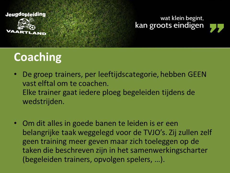 Coaching De groep trainers, per leeftijdscategorie, hebben GEEN vast elftal om te coachen. Elke trainer gaat iedere ploeg begeleiden tijdens de wedstr