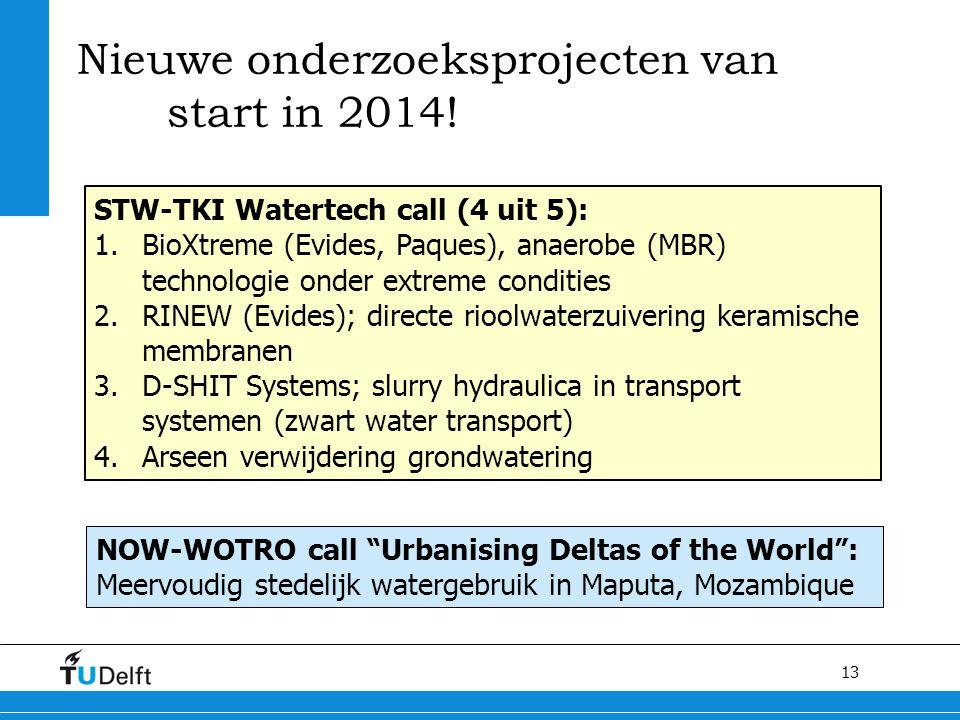 13 Nieuwe onderzoeksprojecten van start in 2014! STW-TKI Watertech call (4 uit 5): 1.BioXtreme (Evides, Paques), anaerobe (MBR) technologie onder extr