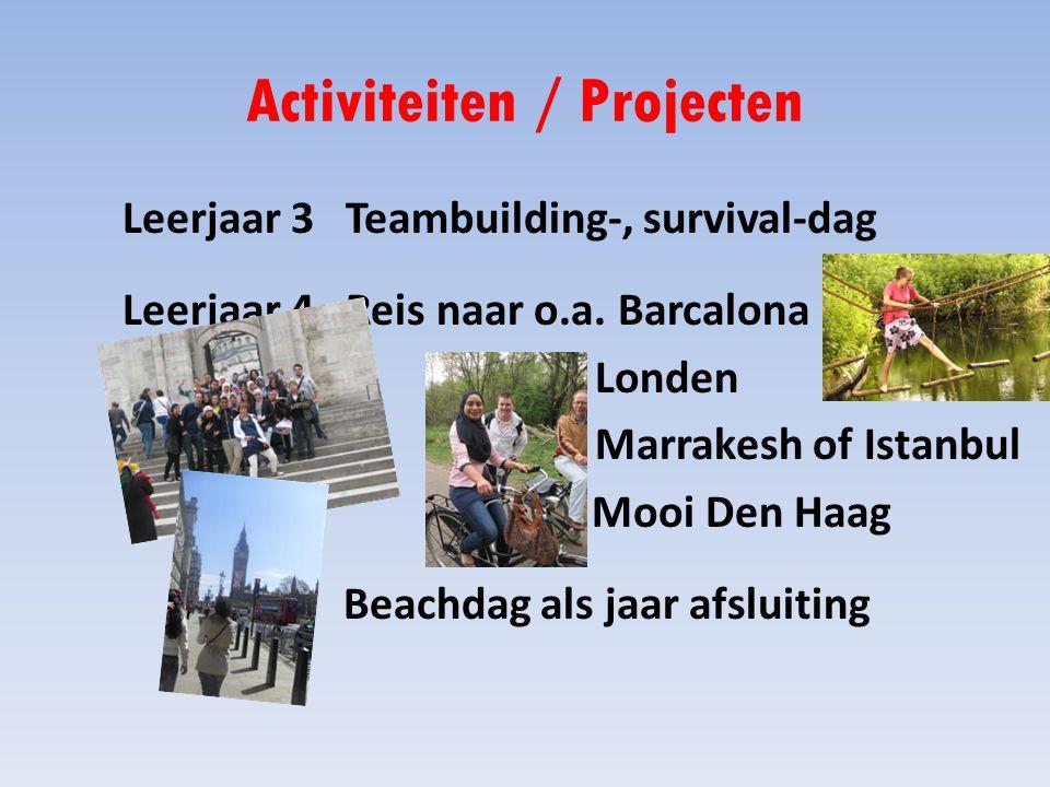 Activiteiten / Projecten Leerjaar 3 Teambuilding-, survival-dag Leerjaar 4 Reis naar o.a.