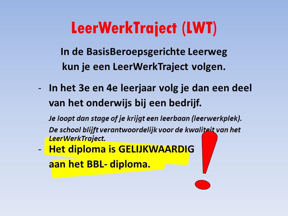 LeerWerkTraject (LWT) -In het 3e en 4e leerjaar volg je dan een deel van het onderwijs bij een bedrijf.