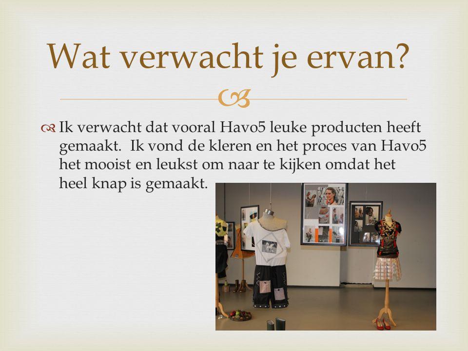   Ik verwacht dat vooral Havo5 leuke producten heeft gemaakt.
