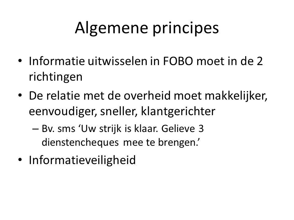 Algemene principes Informatie uitwisselen in FOBO moet in de 2 richtingen De relatie met de overheid moet makkelijker, eenvoudiger, sneller, klantgerichter – Bv.