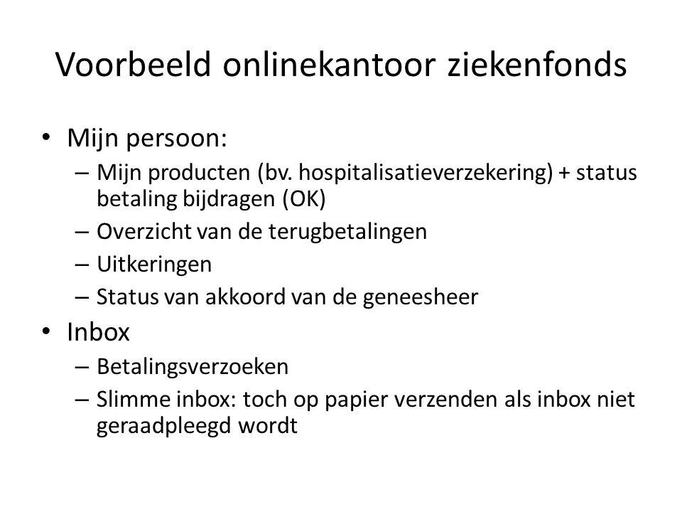 Voorbeeld onlinekantoor ziekenfonds Mijn persoon: – Mijn producten (bv.