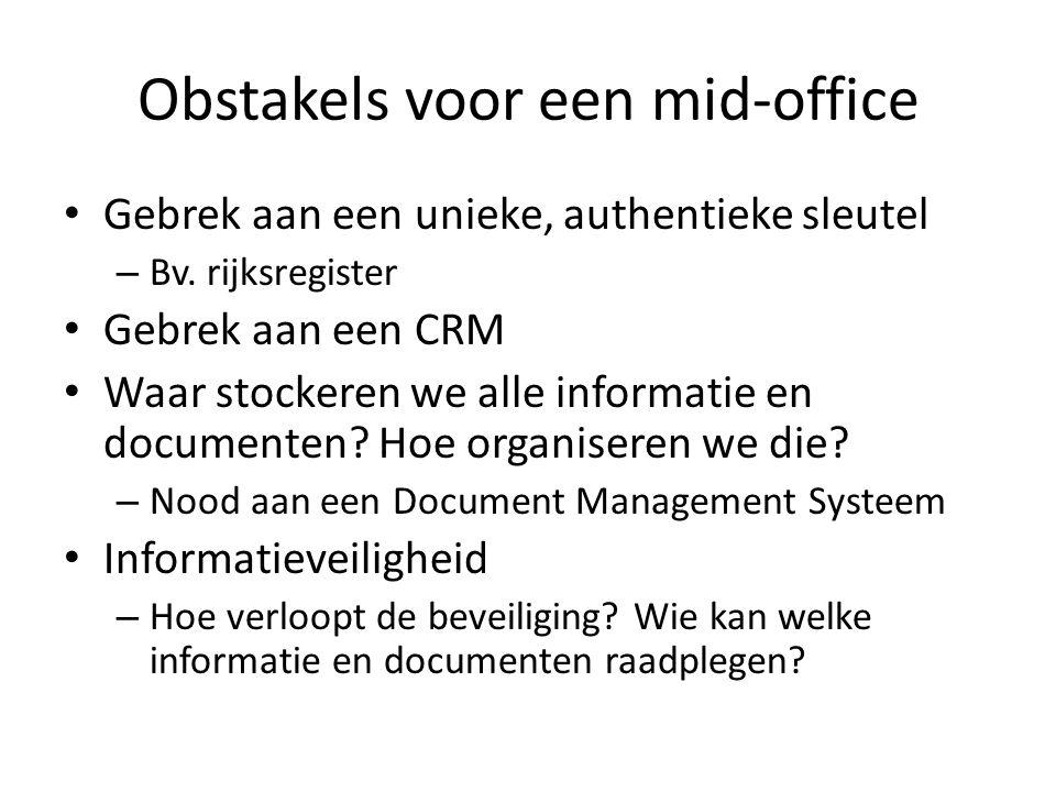 Obstakels voor een mid-office Gebrek aan een unieke, authentieke sleutel – Bv.