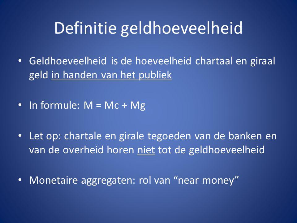 Definitie geldhoeveelheid Geldhoeveelheid is de hoeveelheid chartaal en giraal geld in handen van het publiek In formule: M = Mc + Mg Let op: chartale en girale tegoeden van de banken en van de overheid horen niet tot de geldhoeveelheid Monetaire aggregaten: rol van near money