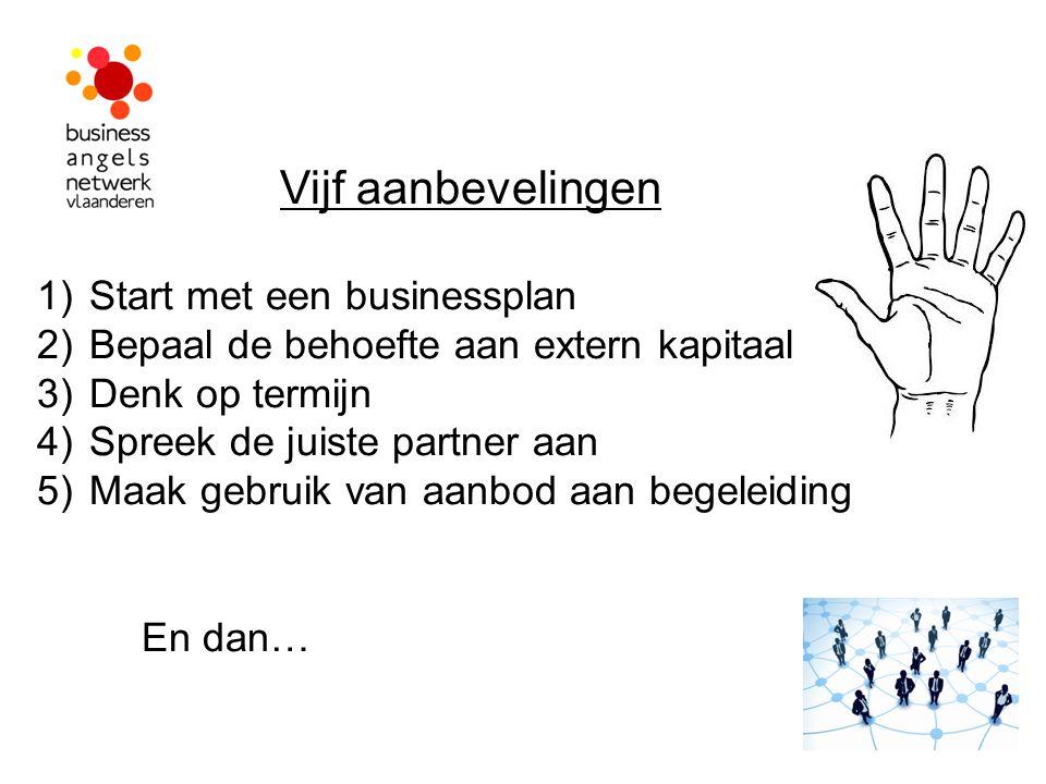 Vijf aanbevelingen 1)Start met een businessplan 2)Bepaal de behoefte aan extern kapitaal 3)Denk op termijn 4)Spreek de juiste partner aan 5)Maak gebru