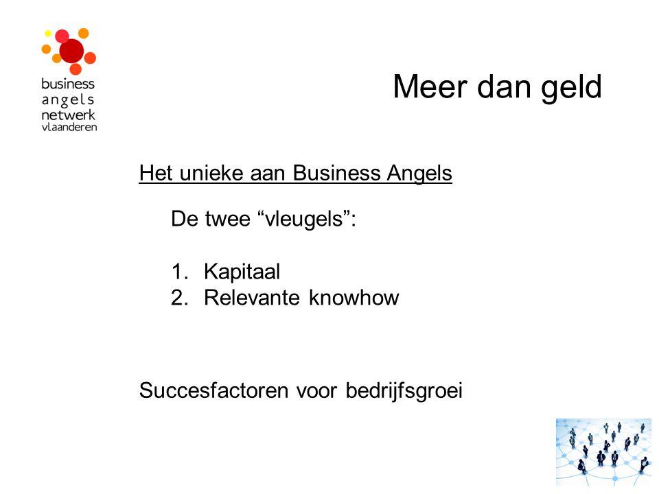 """8. Meer dan geld ! Het unieke aan Business Angels De twee """"vleugels"""": 1.Kapitaal 2.Relevante knowhow Succesfactoren voor bedrijfsgroei Meer dan geld"""