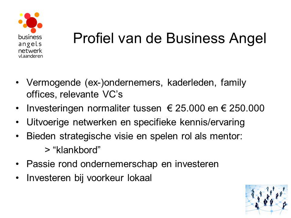 Profiel van de Business Angel Vermogende (ex-)ondernemers, kaderleden, family offices, relevante VC's Investeringen normaliter tussen € 25.000 en € 25