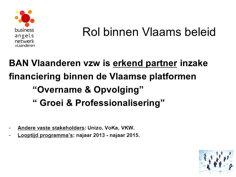 """Rol binnen Vlaams beleid BAN Vlaanderen vzw is erkend partner inzake financiering binnen de Vlaamse platformen """"Overname & Opvolging"""" """" Groei & Profes"""