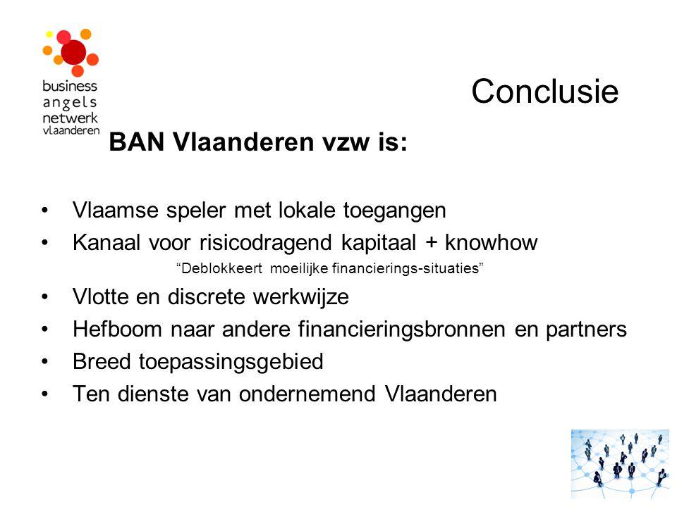 """Conclusie BAN Vlaanderen vzw is: Vlaamse speler met lokale toegangen Kanaal voor risicodragend kapitaal + knowhow """"Deblokkeert moeilijke financierings"""
