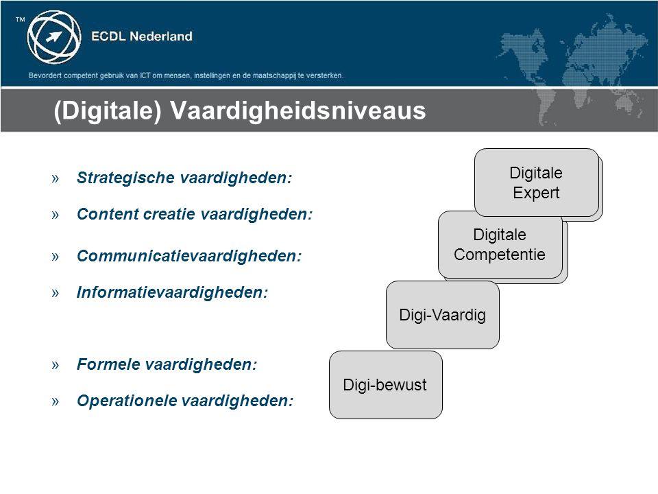 (Digitale) Vaardigheidsniveaus »Strategische vaardigheden: »Content creatie vaardigheden: »Communicatievaardigheden: »Informatievaardigheden: »Formele vaardigheden: »Operationele vaardigheden: Digi-bewust Digi-Vaardig Digitale Competentie Digitale Expert