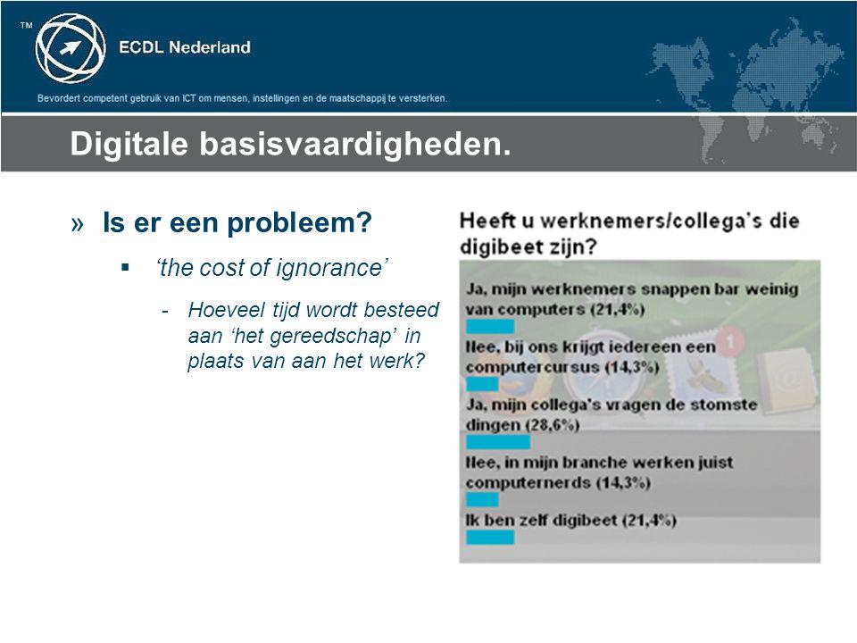 Digitale basisvaardigheden. »Is er een probleem?  'the cost of ignorance' -Hoeveel tijd wordt besteed aan 'het gereedschap' in plaats van aan het wer