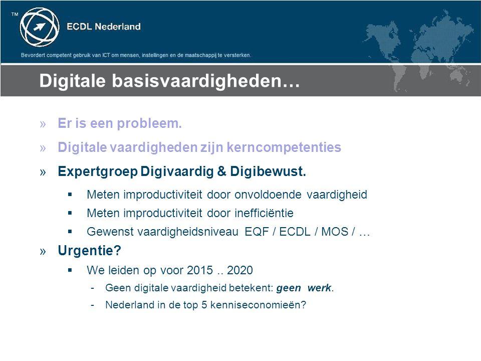 Digitale basisvaardigheden… »Er is een probleem. »Digitale vaardigheden zijn kerncompetenties »Expertgroep Digivaardig & Digibewust.  Meten improduct