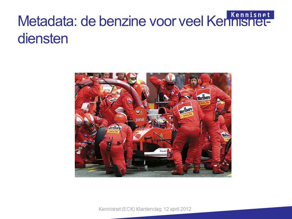 Metadata: de benzine voor veel Kennisnet- diensten Kennisnet (ECK) Klantendag 12 april 2012