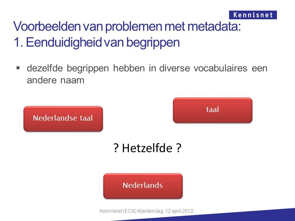  dezelfde begrippen hebben in diverse vocabulaires een andere naam Nederlandse taal Nederlands taal ? Hetzelfde ? Voorbeelden van problemen met metad