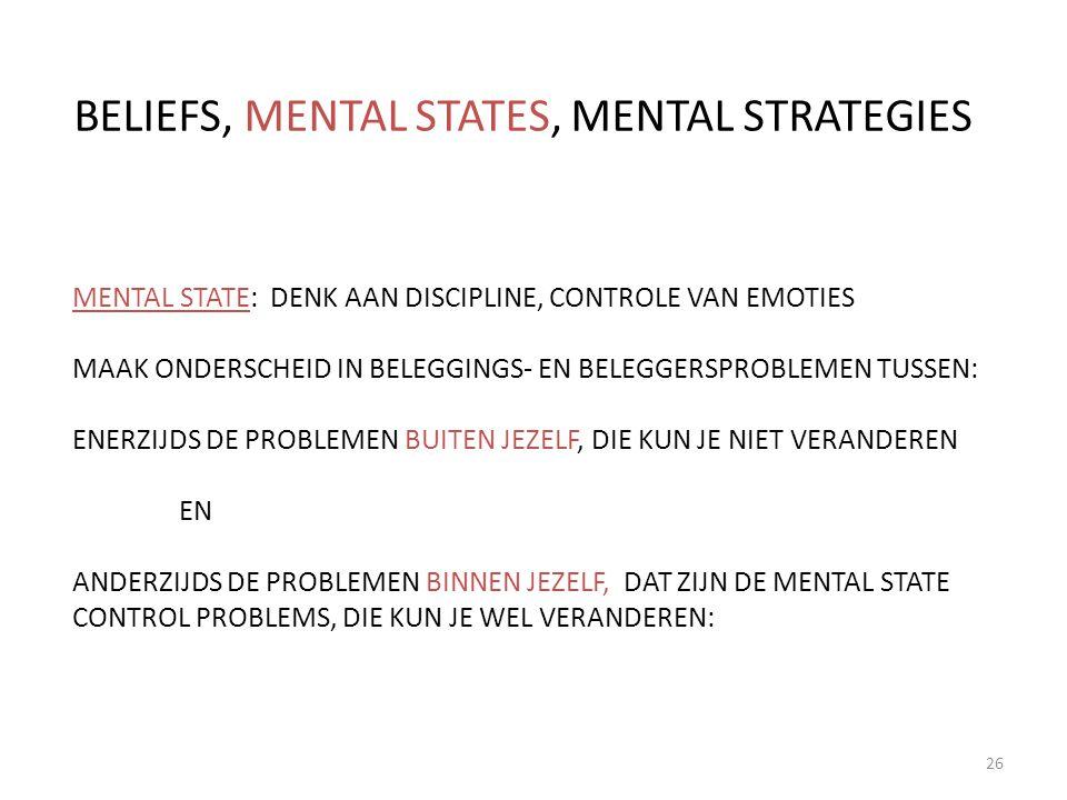 26 BELIEFS, MENTAL STATES, MENTAL STRATEGIES MENTAL STATE: DENK AAN DISCIPLINE, CONTROLE VAN EMOTIES MAAK ONDERSCHEID IN BELEGGINGS- EN BELEGGERSPROBL