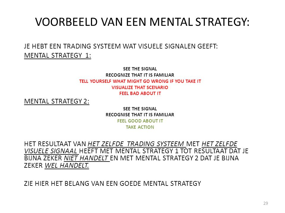 VOORBEELD VAN EEN MENTAL STRATEGY: JE HEBT EEN TRADING SYSTEEM WAT VISUELE SIGNALEN GEEFT: MENTAL STRATEGY 1: SEE THE SIGNAL RECOGNIZE THAT IT IS FAMI