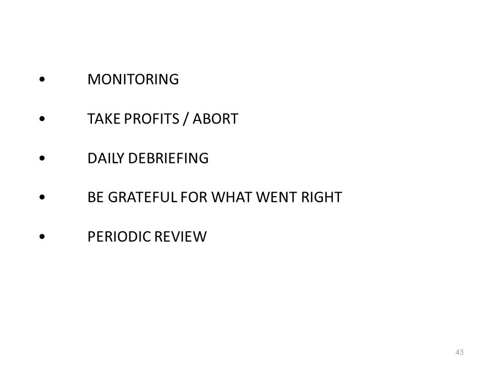 MONITORINGTAKE PROFITS / ABORTDAILY DEBRIEFINGBE GRATEFUL FOR WHAT WENT RIGHTPERIODIC REVIEW 43