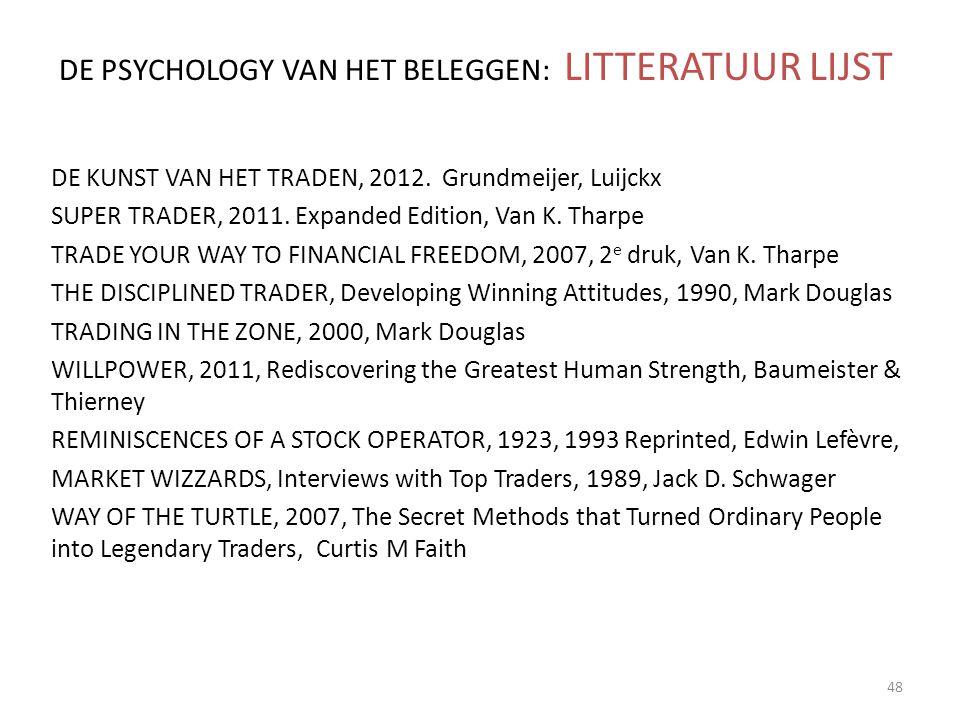 DE PSYCHOLOGY VAN HET BELEGGEN: LITTERATUUR LIJST DE KUNST VAN HET TRADEN, 2012. Grundmeijer, Luijckx SUPER TRADER, 2011. Expanded Edition, Van K. Tha