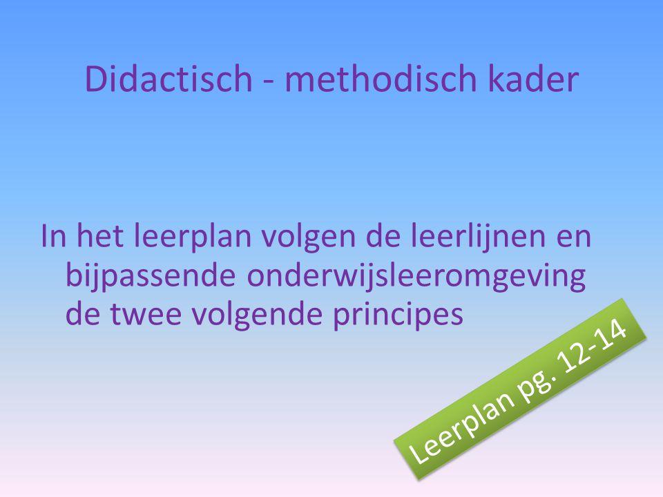 Didactisch - methodisch kader In het leerplan volgen de leerlijnen en bijpassende onderwijsleeromgeving de twee volgende principes Leerplan pg. 12-14
