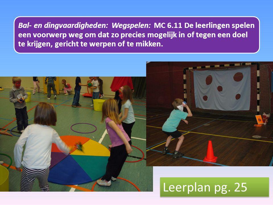 Bal- en dingvaardigheden: Wegspelen: MC 6.11 De leerlingen spelen een voorwerp weg om dat zo precies mogelijk in of tegen een doel te krijgen, gericht