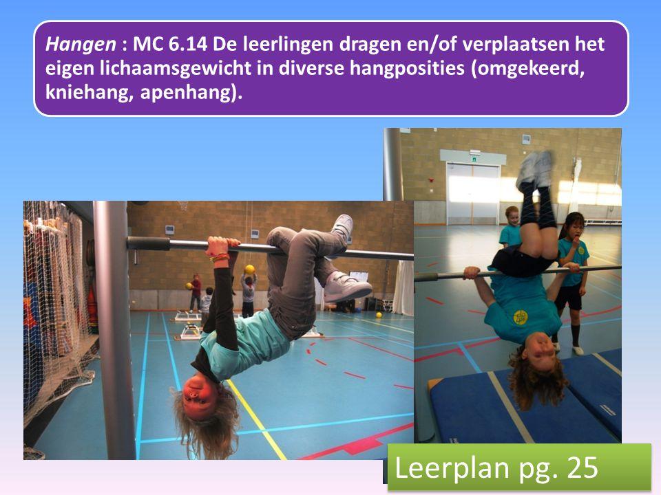 Hangen : MC 6.14 De leerlingen dragen en/of verplaatsen het eigen lichaamsgewicht in diverse hangposities (omgekeerd, kniehang, apenhang). Leerplan pg