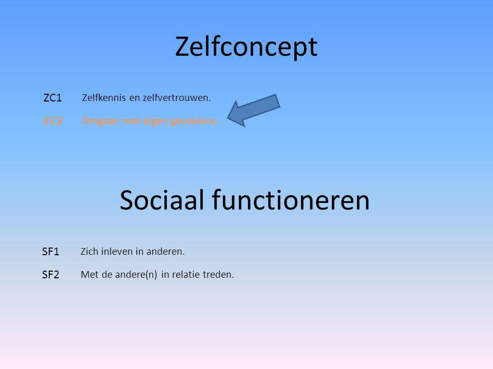 Zelfconcept ZC1 Zelfkennis en zelfvertrouwen. ZC2 Omgaan met eigen gevoelens. Sociaal functioneren SF1 Zich inleven in anderen. SF2 Met de andere(n) i
