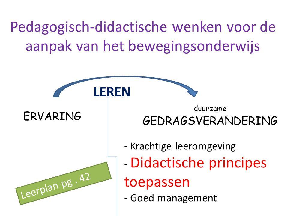 Pedagogisch-didactische wenken voor de aanpak van het bewegingsonderwijs ERVARING duurzame GEDRAGSVERANDERING LEREN - Krachtige leeromgeving Didactisc
