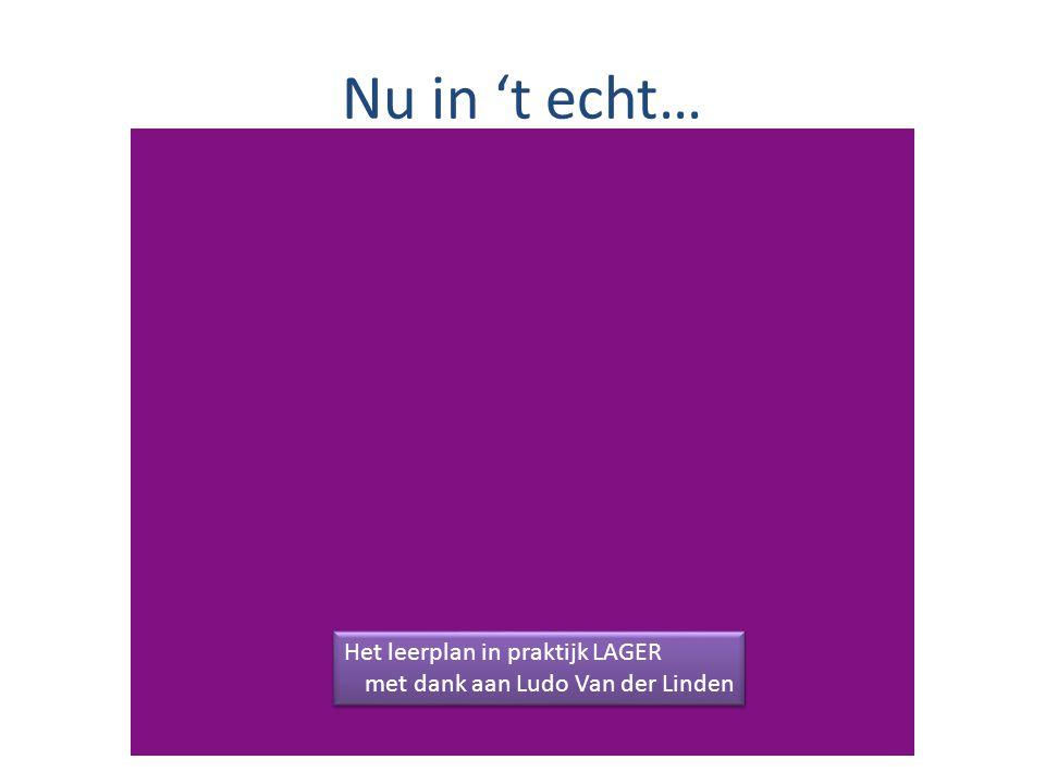 Nu in 't echt… Het leerplan in praktijk LAGER met dank aan Ludo Van der Linden Het leerplan in praktijk LAGER met dank aan Ludo Van der Linden