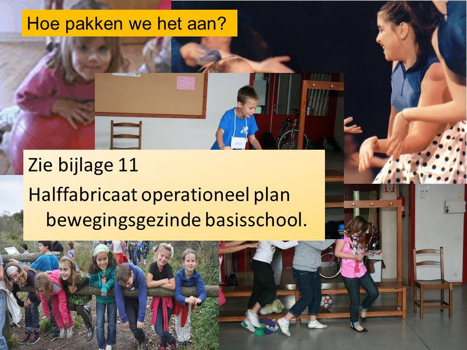 Hoe pakken we het aan? Zie bijlage 11 Halffabricaat operationeel plan bewegingsgezinde basisschool.