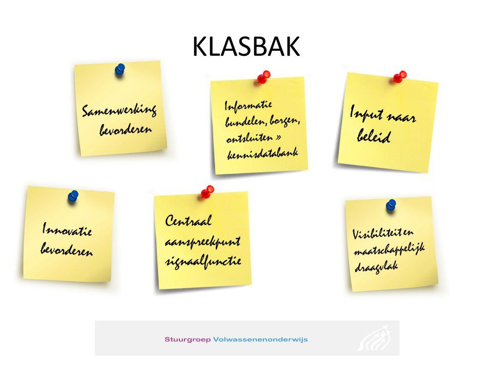 KLASBAK Informatie bundelen, borgen, ontsluiten » kennisdatabank Input naar beleid Centraal aanspreekpunt signaalfunctie Samenwerking bevorderen Innov