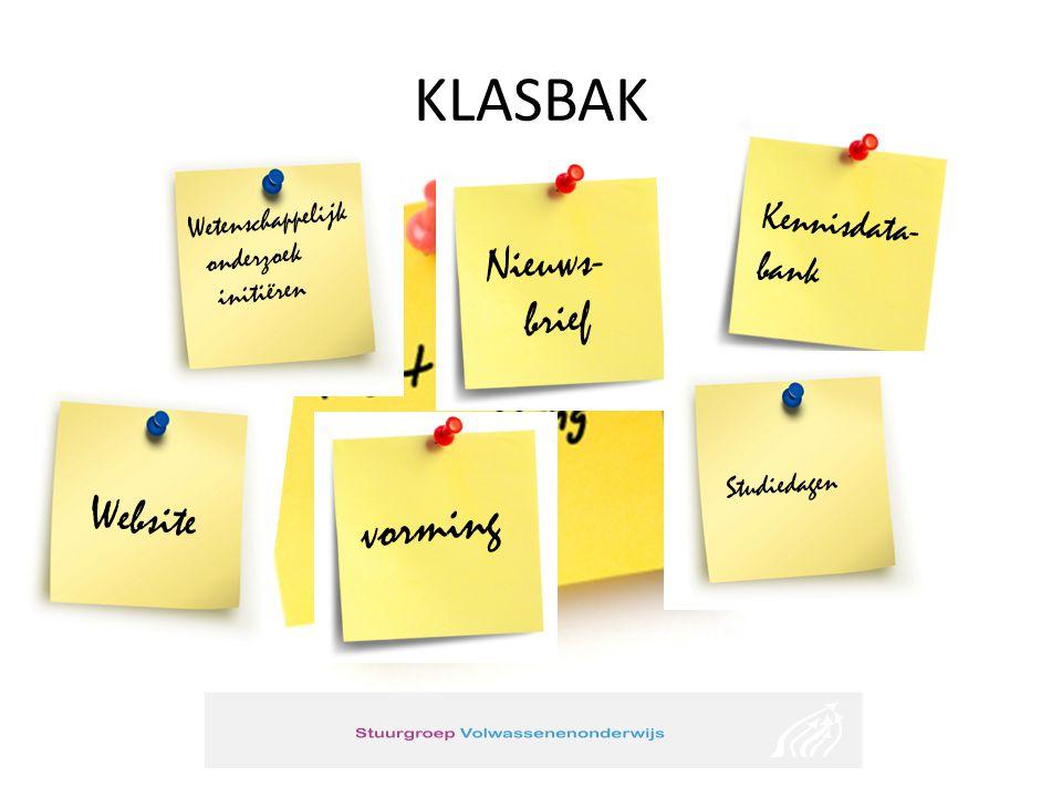 KLASBAK Nieuws- brief Kennisdata- bank vorming Wetenschappelijk onderzoek initiëren Website Studiedagen