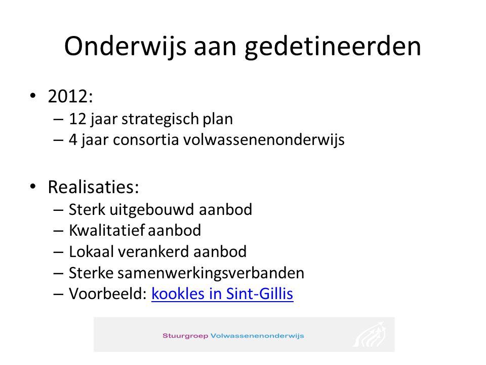 Onderwijs aan gedetineerden 2012: – 12 jaar strategisch plan – 4 jaar consortia volwassenenonderwijs Realisaties: – Sterk uitgebouwd aanbod – Kwalitat