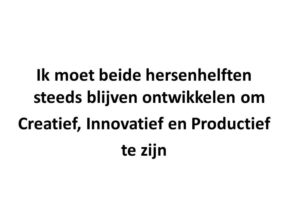 Ik moet beide hersenhelften steeds blijven ontwikkelen om Creatief, Innovatief en Productief te zijn