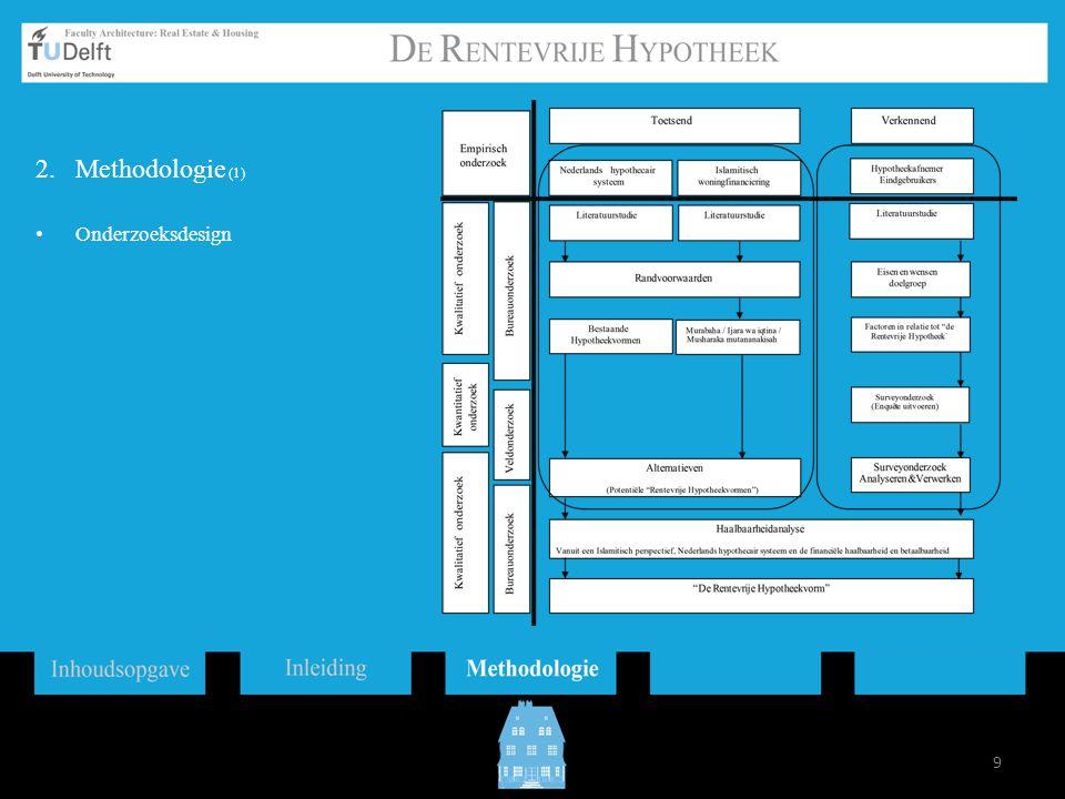 Hypotheekverlener / Ontwikkelaar Het ontwikkelen en verlenen van De Rentevrije hypotheek Hypotheekafnemer / Eindgebruikers Het willen en kunnen aanschaffen van een Rentevrije Hypotheek Hypotheekvorm Een Rentevrije Hypotheekvorm dat zowel aan de eisen binnen het Nederlandse hypothecaire systeem als aan de eisen binnen het Islamitische woningfinanciering voldoet 10 2.Methodologie (1) De drie peilers