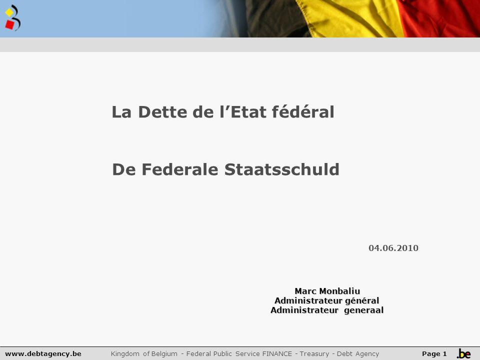 www.debtagency.be Kingdom of Belgium - Federal Public Service FINANCE - Treasury - Debt Agency Page 22 Financieringsbehoeften en financieringsinstrumenten 2009 – 2010 in mia € Strategie van het Schuldbeheer