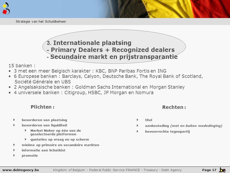 www.debtagency.be Kingdom of Belgium - Federal Public Service FINANCE - Treasury - Debt Agency Page 17 3.