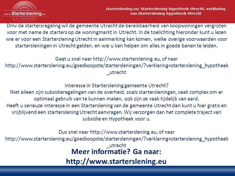Dmv de startersregeling wil de gemeente Utrecht de bereikbaarheid van koopwoningen vergroten voor met name de starters op de woningmarkt in Utrecht. I
