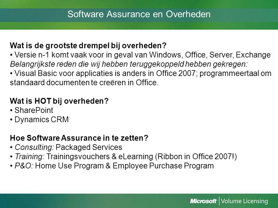 Software Assurance en Overheden Wat is de grootste drempel bij overheden? Versie n-1 komt vaak voor in geval van Windows, Office, Server, Exchange Bel