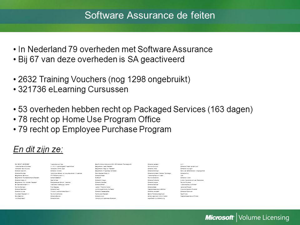 Software Assurance de feiten In Nederland 79 overheden met Software Assurance Bij 67 van deze overheden is SA geactiveerd 2632 Training Vouchers (nog