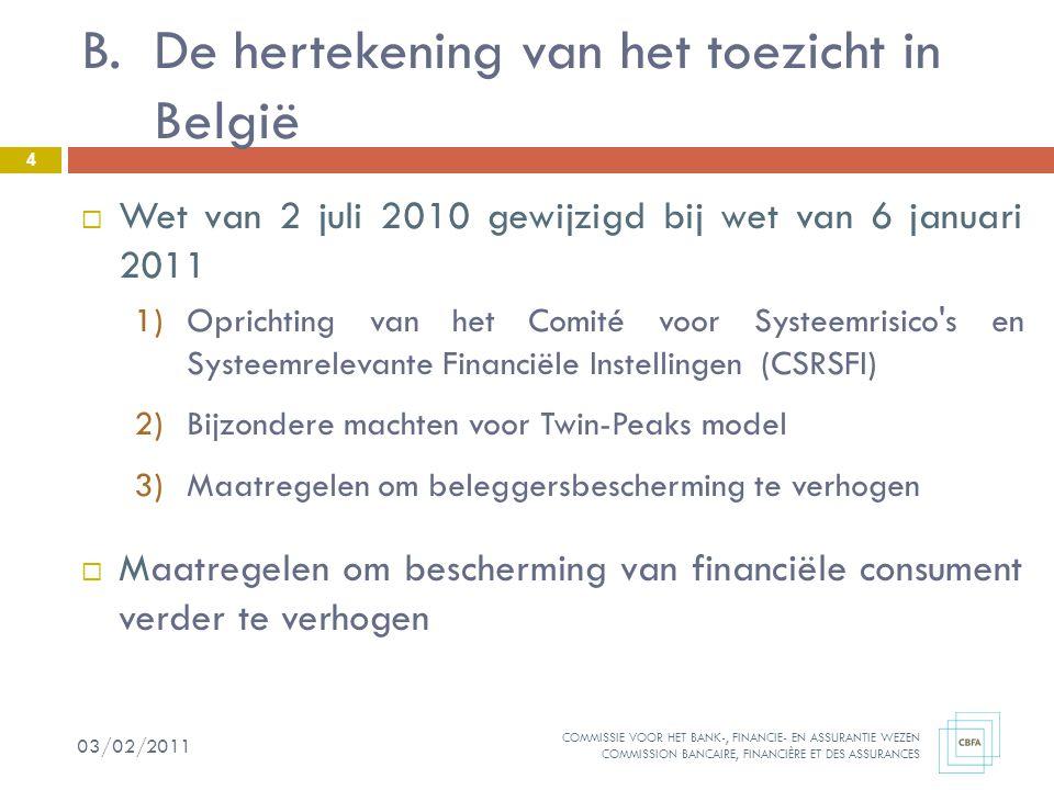 COMMISSIE VOOR HET BANK-, FINANCIE- EN ASSURANTIE WEZEN COMMISSION BANCAIRE, FINANCIÈRE ET DES ASSURANCES  Wet van 2 juli 2010 gewijzigd bij wet van 6 januari 2011 1)Oprichting van het Comité voor Systeemrisico s en Systeemrelevante Financiële Instellingen (CSRSFI) 2)Bijzondere machten voor Twin-Peaks model 3)Maatregelen om beleggersbescherming te verhogen  Maatregelen om bescherming van financiële consument verder te verhogen B.De hertekening van het toezicht in België 4 03/02/2011