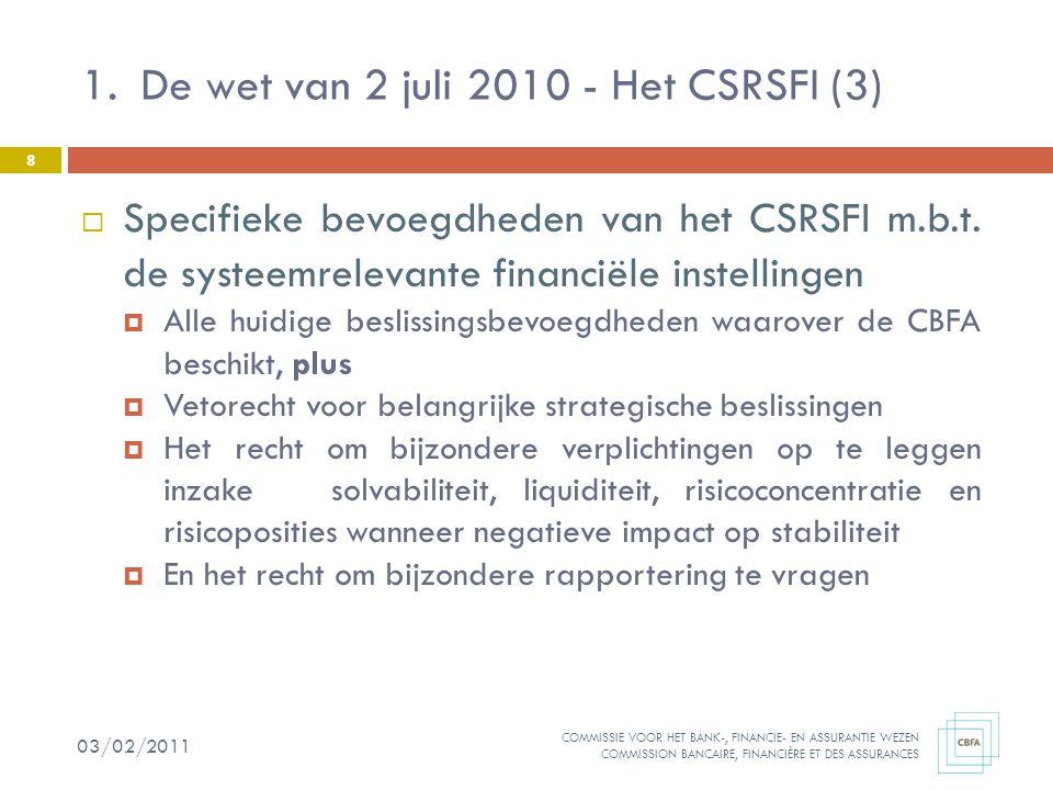 COMMISSIE VOOR HET BANK-, FINANCIE- EN ASSURANTIE WEZEN COMMISSION BANCAIRE, FINANCIÈRE ET DES ASSURANCES  Specifieke bevoegdheden van het CSRSFI m.b.t.
