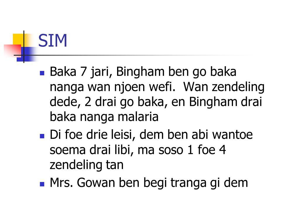 SIM Baka 7 jari, Bingham ben go baka nanga wan njoen wefi. Wan zendeling dede, 2 drai go baka, en Bingham drai baka nanga malaria Di foe drie leisi, d