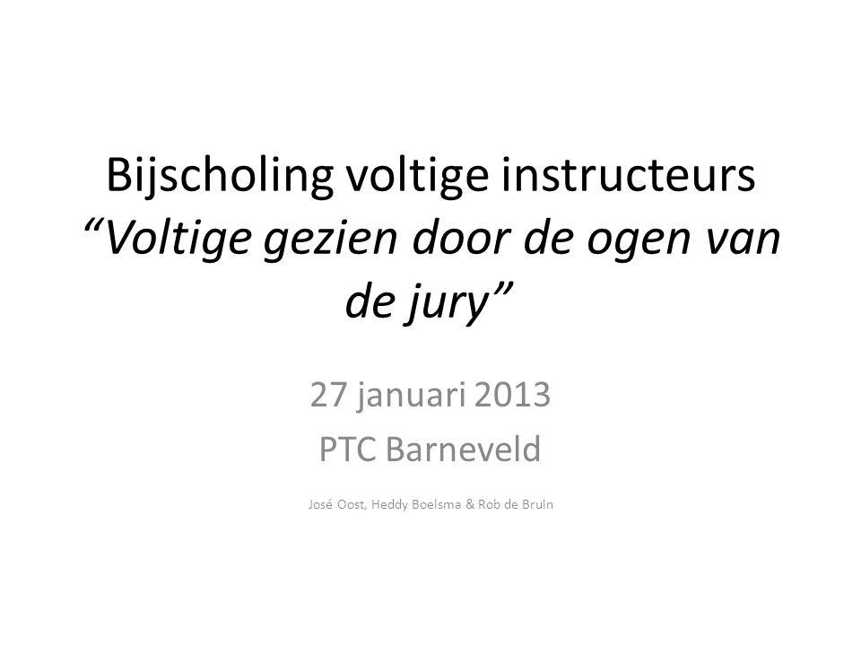 """Bijscholing voltige instructeurs """"Voltige gezien door de ogen van de jury"""" 27 januari 2013 PTC Barneveld José Oost, Heddy Boelsma & Rob de Bruin"""