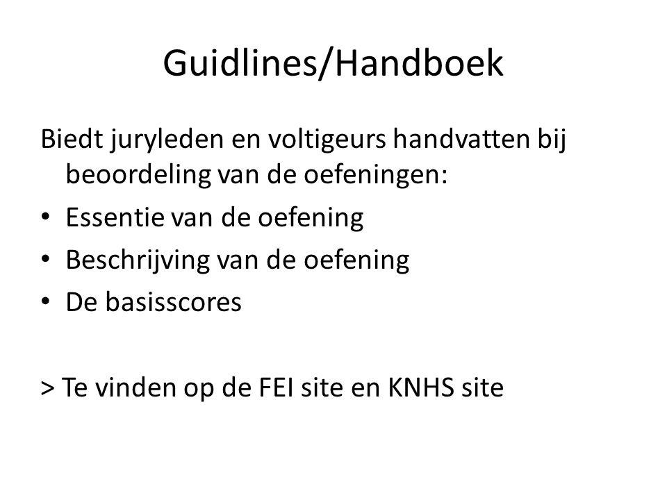 Guidlines/Handboek Biedt juryleden en voltigeurs handvatten bij beoordeling van de oefeningen: Essentie van de oefening Beschrijving van de oefening D