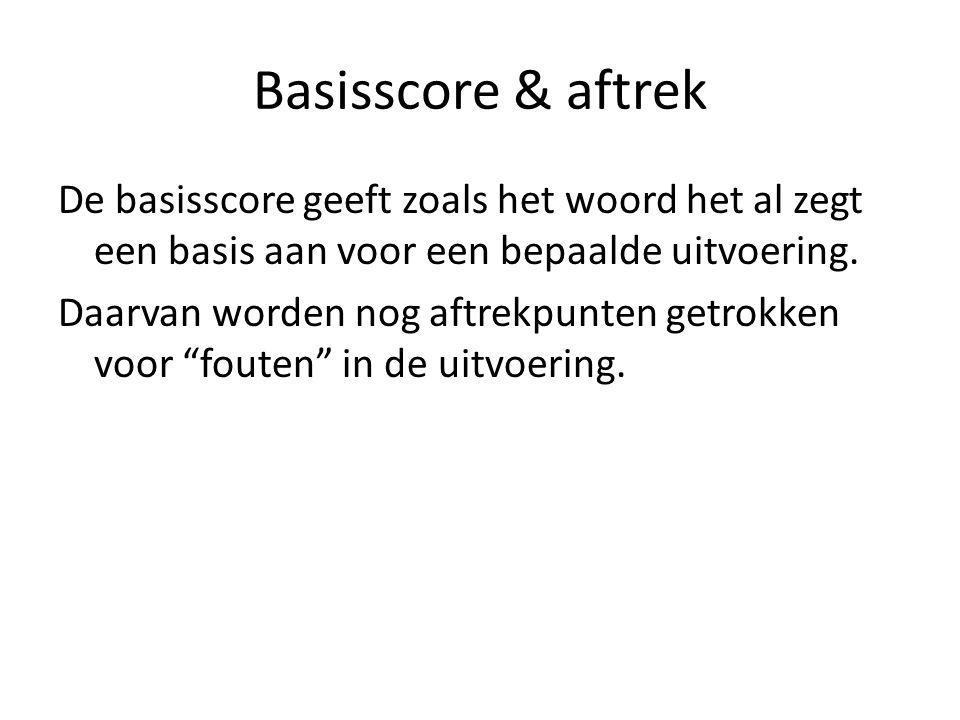 Basisscore & aftrek De basisscore geeft zoals het woord het al zegt een basis aan voor een bepaalde uitvoering. Daarvan worden nog aftrekpunten getrok
