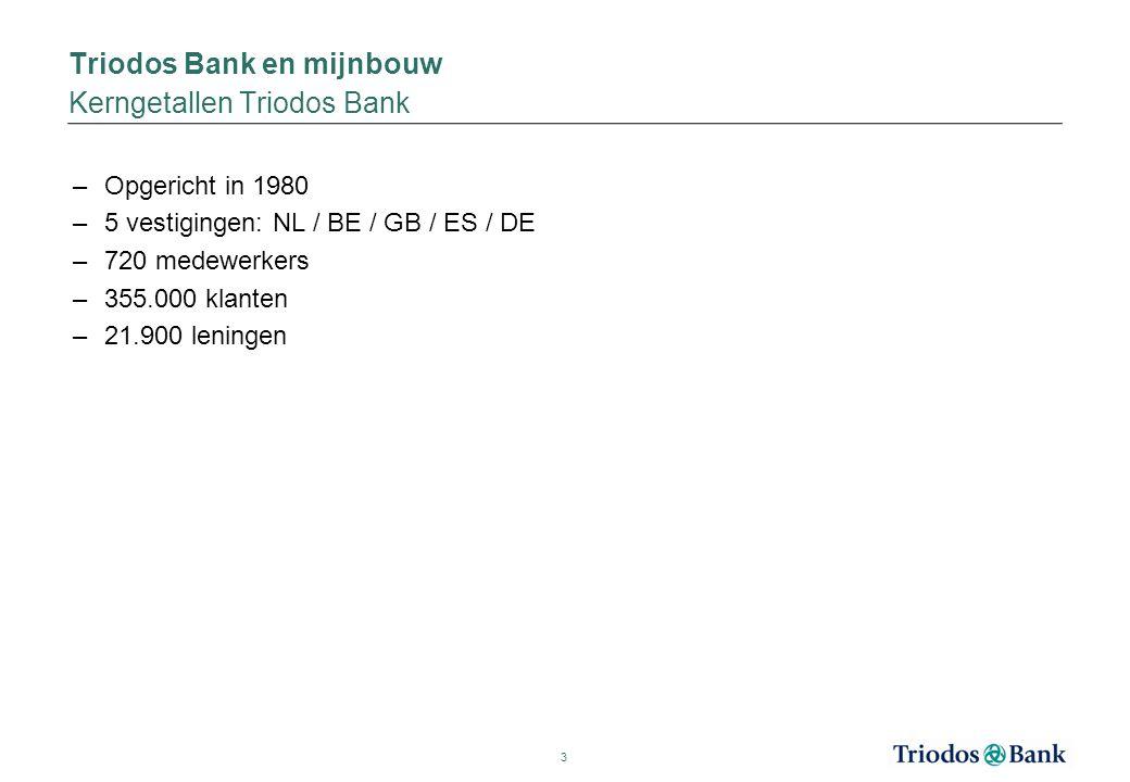 Triodos Bank en mijnbouw Kerngetallen Triodos Bank –Opgericht in 1980 –5 vestigingen: NL / BE / GB / ES / DE –720 medewerkers –355.000 klanten –21.900