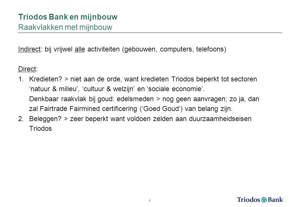 4 Indirect: bij vrijwel alle activiteiten (gebouwen, computers, telefoons) Direct: 1.Kredieten? > niet aan de orde, want kredieten Triodos beperkt tot