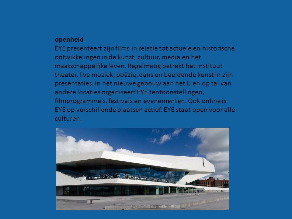 EYE is ontstaan door een fusie va het filmmuseum, holland film, film bank en het nederlands instituut voor film educatie.